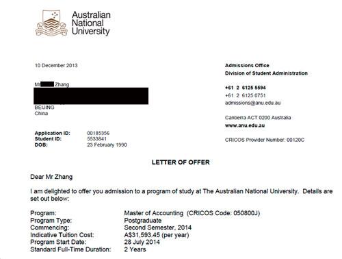 编导专业生通过易申网成功申请澳国立会计硕士