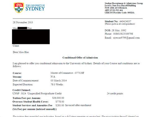 通过易申网申请两天拿到悉尼大学硕士录取
