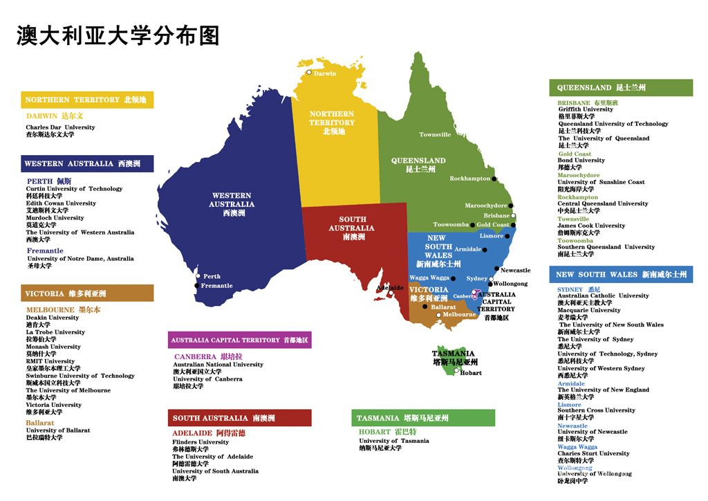 澳洲八大名校地理位置