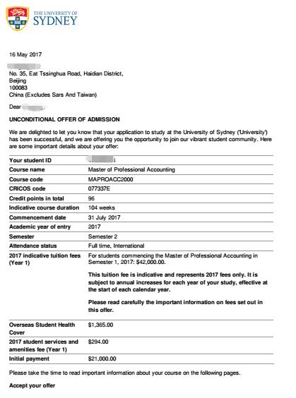 悉尼大学申请经验,悉尼大学offer,澳洲大学申请经验