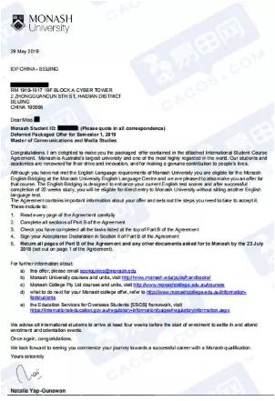 蒙纳士大学,澳洲名校申请,澳洲留学案例