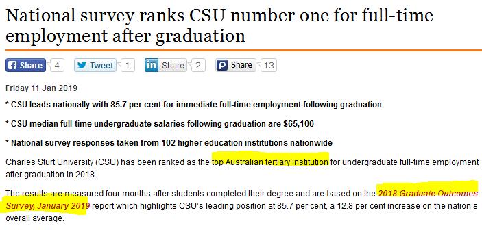 2018澳洲大学毕业生就业报告新鲜出炉!排名NO.1的大学你肯定猜不到......