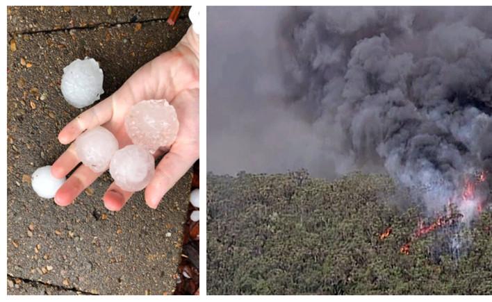 """墨大师姐说:山火肆虐,冰雹又至,现在澳洲真的进入了""""冰火两重天""""模式?"""